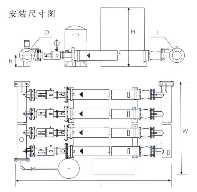 管中泵变频供水设备安装尺寸图