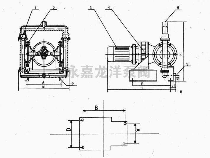 DBY衬氟电动隔膜泵工作原理图