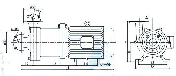 CQ耐腐蚀不锈钢磁力泵安装尺寸