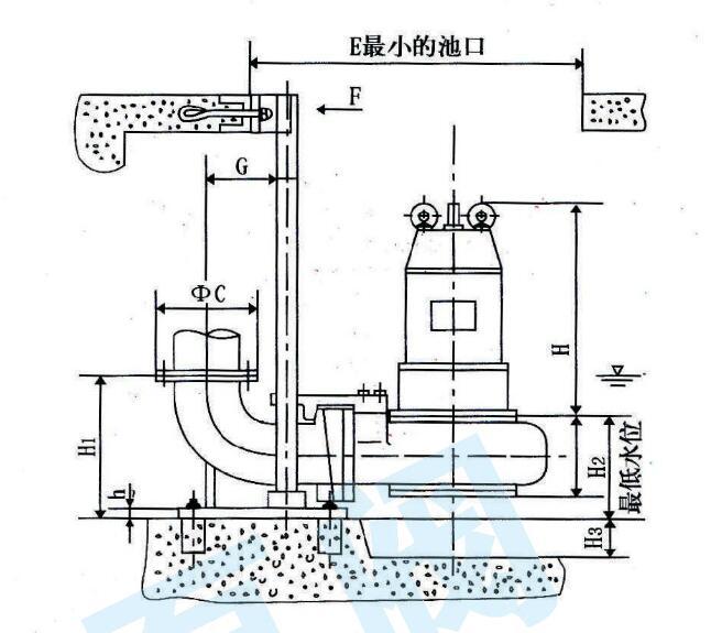潜水排污泵安装示意图结构图,潜水排污泵安装注意事项